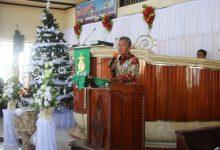 Wakil Bupati Franky D. Wongkar, SH saat membawakan Sambutan yang mengatasnamakan Bupati DR. Christiany E. Paruntu, SE