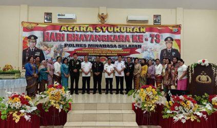 Polres Minahasa Selatan  laksanakan acara syukuran Hari Bhayangkara ke — 73 Tahun,